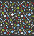 seamless pattern with multicolored stars on dark vector image
