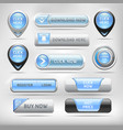 Blue Glossy Web Elements Button Set vector image