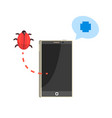 smatphone and red bug cybersecurity cartoon vector image vector image