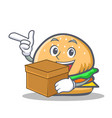 Burger character fast food with box vector image