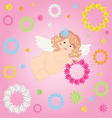 angel and wreaths of flowers vector image