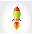 flat pixel rocket on white background vector image