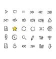 Multimedia sketch icons set vector image