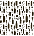 Texture with black wine bottles and glasses vector image