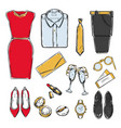 colored doodle evening wardrobe collection vector image