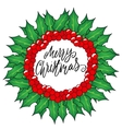 Greeting card with a Christmas wreaths and Merry vector image