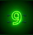 neon city font sign number 9 signboard nine vector image