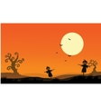 Silhouette of scarecrow halloween backgrounds vector image