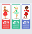 vertical banners set with teenager girls vector image