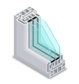 Energy efficient window cross section vector image
