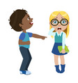 Boy mocking a girl part of bad kids behavior and vector image