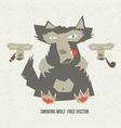 smoking wolf vector image