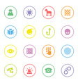 colorful flat icon set 7 with circle frame vector image