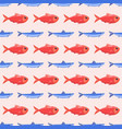 funny fish seamless pattern sea food marine life vector image