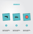 set of safety icons flat style symbols with suv vector image