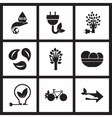 Concept flat icons in black and white eco energy vector image
