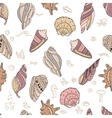 Seamless pattern with shells on white vector image vector image