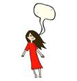 cartoon ghost like girl with speech bubble vector image