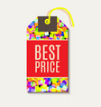 bright tags with rainbow glitter vector image
