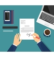 Businessman is signing a contract vector image