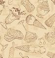 Retro sketch seamless pattern of ice cream vector image