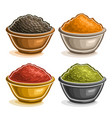 set of indian spices in bowls vector image