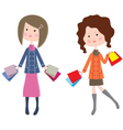 Two cartoon women with packages vector image vector image