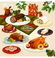 Christmas cuisine dinner for festive menu design vector image