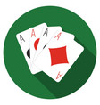 Flat design ace cards icon with long shadow vector image