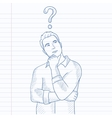 Businessman with question mark above his head vector image vector image