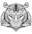 Hand drawn tiger coloring page vector image