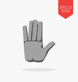 Hand icon Stop sign concept Flat design gray color vector image