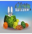 beautiful little Bunny sits in Easter egg vector image