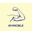 bicep strong with invincible text flat vector image