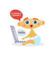 cute baby boy using laptop computer toddler happy vector image