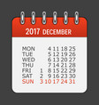 december 2017 calendar daily icon vector image