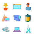 fieldwork icons set cartoon style vector image