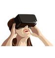girl wearing virtual reality goggles vector image