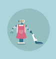 modern robot cleaning with vacuum cleaner icon vector image