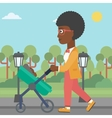 Mother walking with her baby in stroller vector image