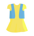 yellow summer girly dress with blue jeans jacket vector image