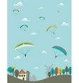 Paragliders over the country vector image