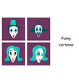 assembly of flat icons on theme funny clowns vector image