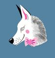 Funny ravenous wolf hipster on a blue background vector image