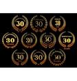 Golden laurel wreaths icons for jubilee design vector image