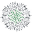 hand drawn floral abstract circle with cute vector image