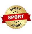 sport round isolated gold badge vector image