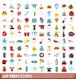 100 xmas icons set flat style vector image