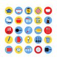 round icon set of kitchen tools in colored circles vector image