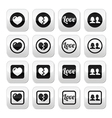Love heart couple buttons for Valentines day vector image